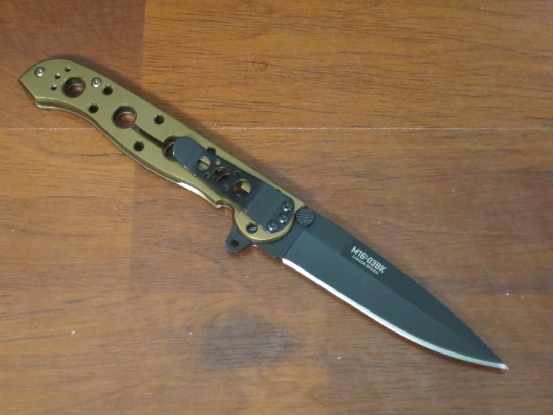 CRKT Kit Carson Flipper Knife Black Oxide Blade, Bronze Titanium Nitride Stainless Steel Handles image 1
