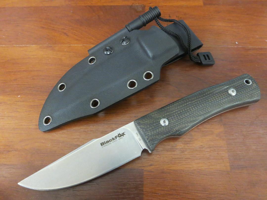 Fox Knives Black Fox Explorator Fixed, Stonewashed Harpoon, Micarta Handles, Kydex Sheath image 0