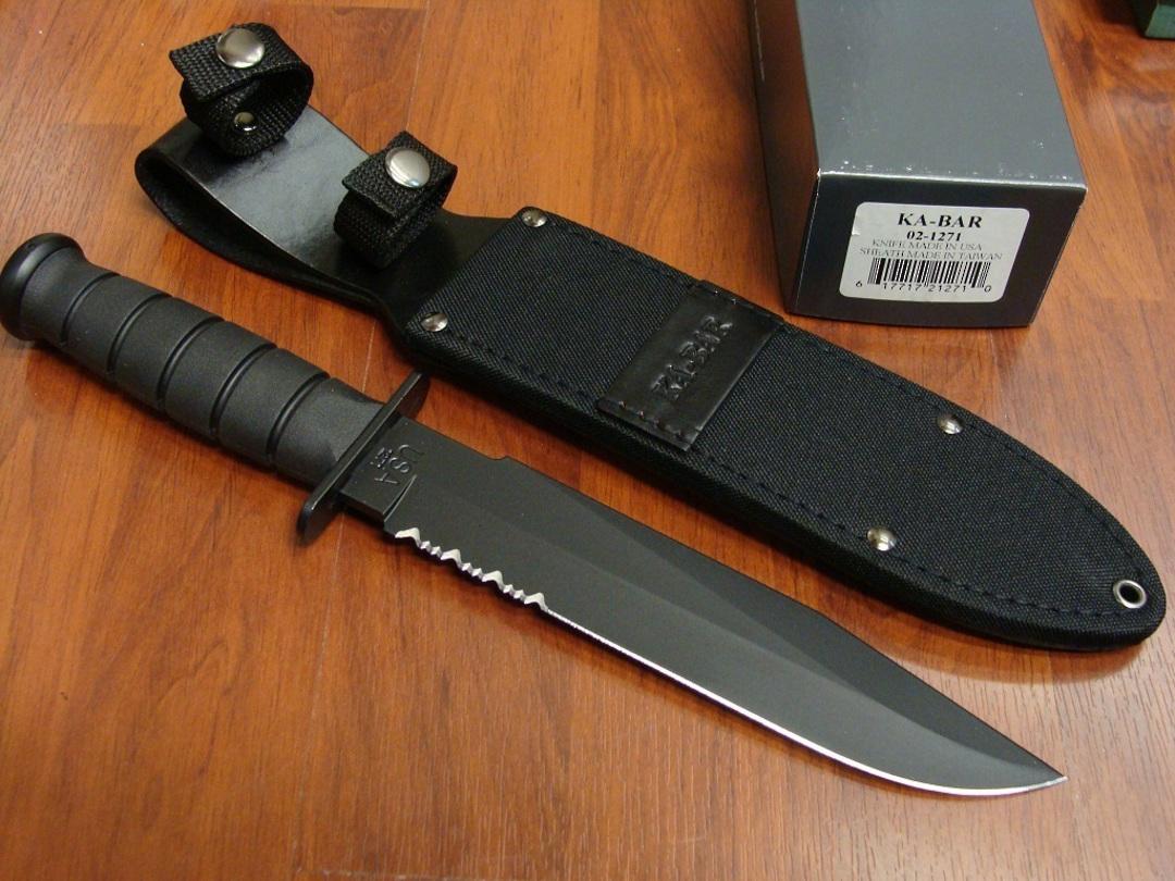 Ka-Bar Black Fighting Combo Edge Knife image 0