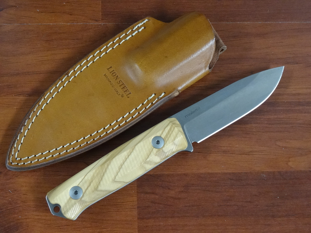 LionSteel B40 Bushcraft Fixed Blade Knife Spear Point Blade, Olive Wood Handles, Leather Sheath image 1