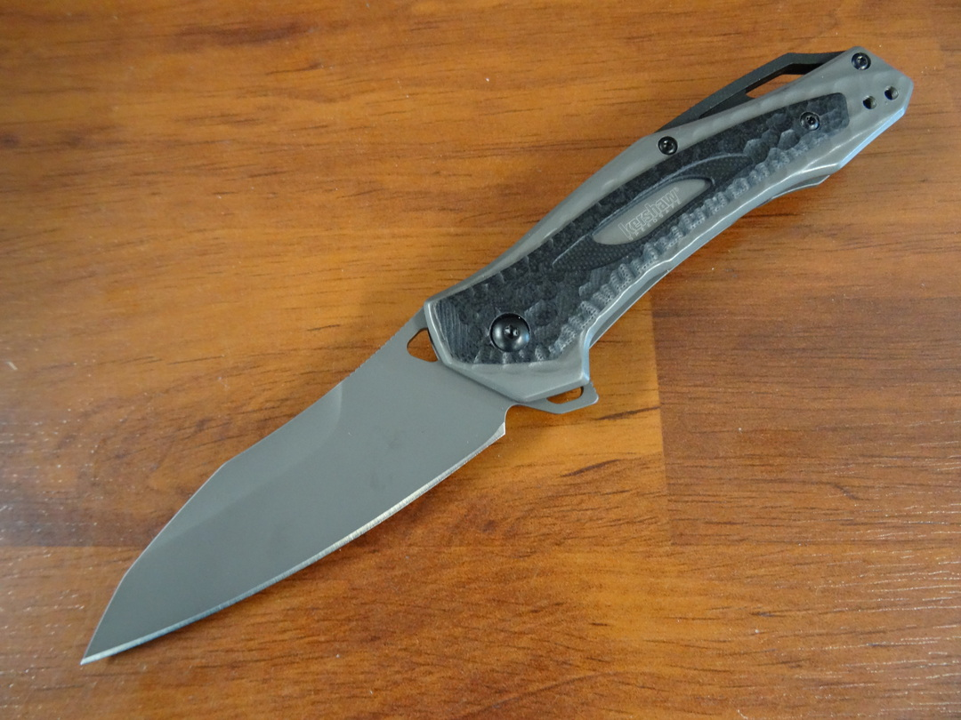 Kershaw Vedder Assisted Flipper Sheepsfoot Blade, Gray Steel Handles with G10 Overlays image 0
