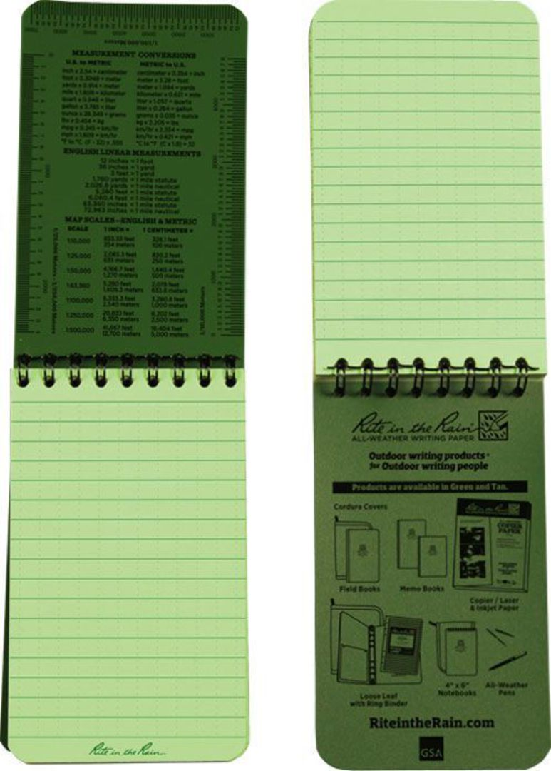"""Rite in the Rain Universal Polydura Tactical Pocket Notebook, 3"""" x 5"""", Green image 2"""