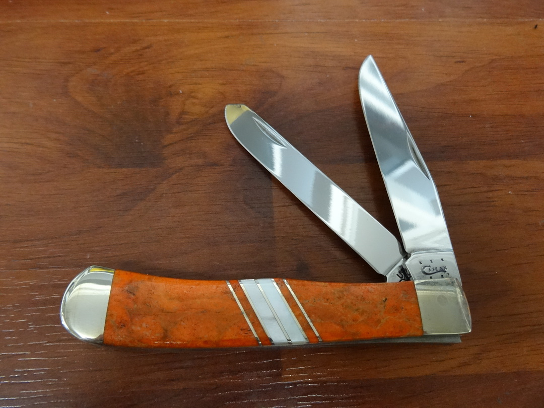 CASE CUTLERY  Exotic Orange Coral Trapper Folding Knife - 11104 image 0