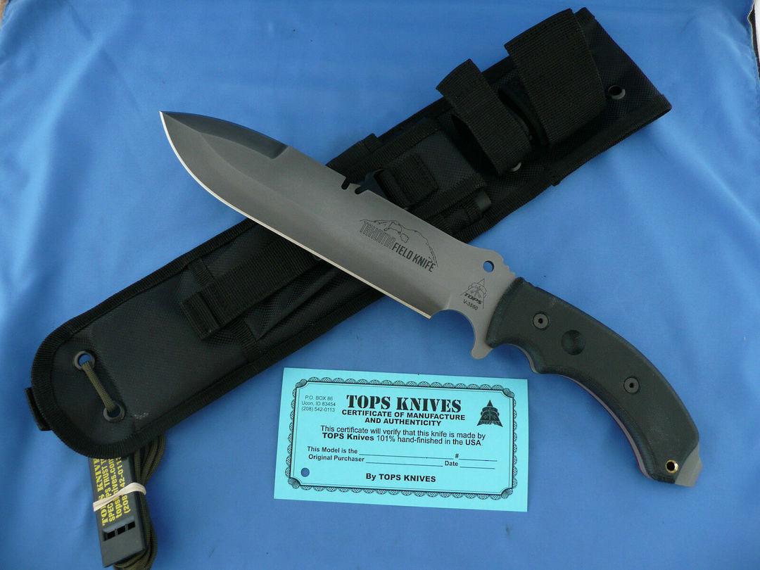 Tops Tahoma Field Knife Black Canvas Micarta Handle image 2
