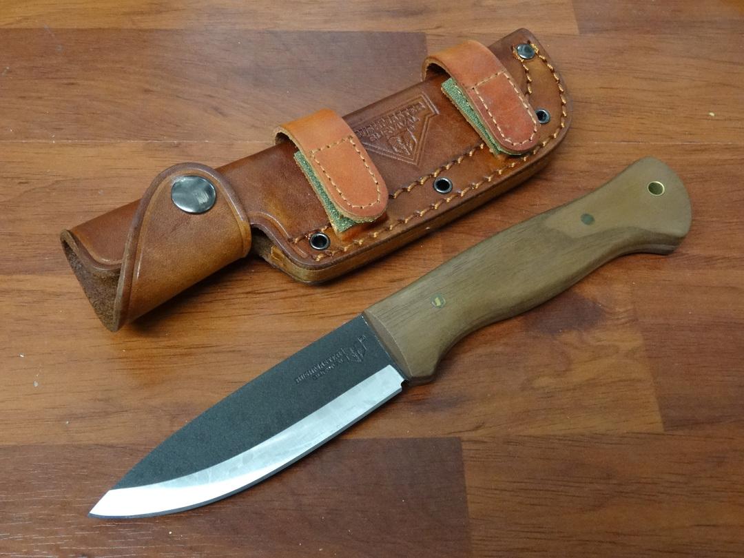 United Cutlery Bushcraft Explorer Knife, Hardwood Handles, Brown Leather Sheath image 0