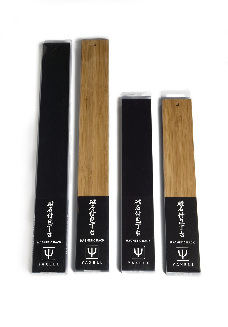 Yaxell Magnetic Knife Rack Bamboo Black- 5 knives holder image 1