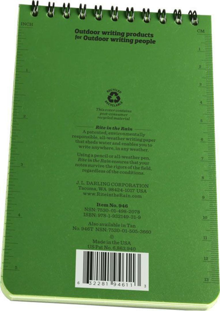"Rite in the Rain Universal Polydura Tactical Pocket Notebook, 4"" x 6"", Green image 3"