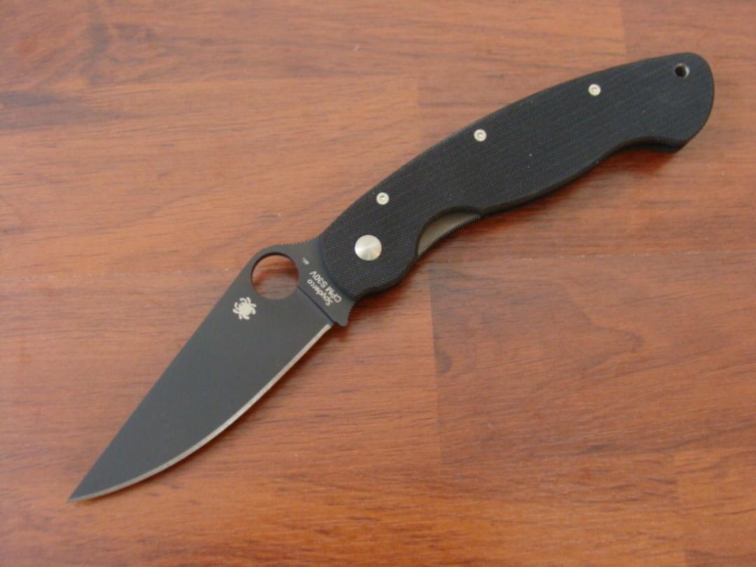 Spyderco Military S30V Black Handle folding Knife - Black Blade C36GPBK image 0