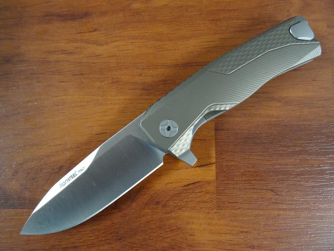 LionSteel ROK B Integral Flipper Knife M390, Bronze Titanium Handles, H.WAYL Pocket Clip System image 0