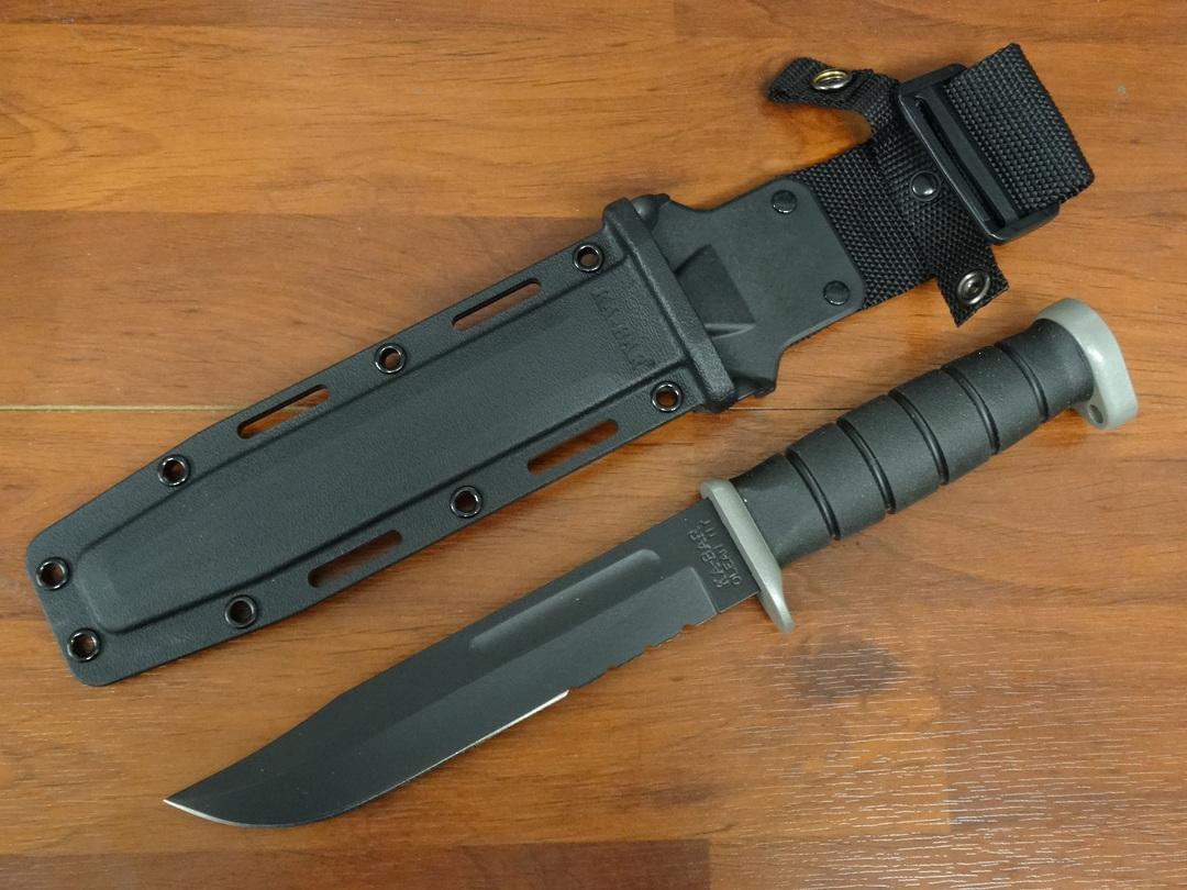 "KA-BAR D2 Extreme Fighting Knife 7"" Combo Blade, Kraton G Handle, Kydex Sheath image 0"