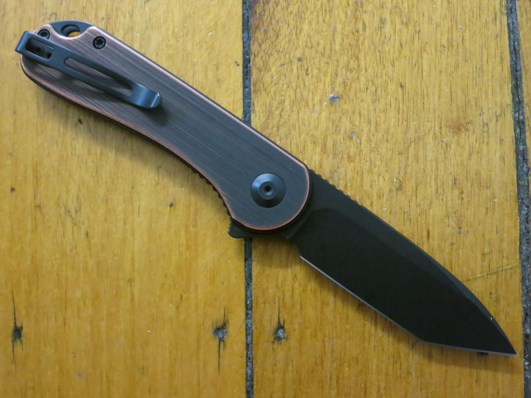 CIVIVI Knives Elementum Tanto Flipper, D2 Black Stonewashed, Black Hand Rubbed Copper Handles image 1