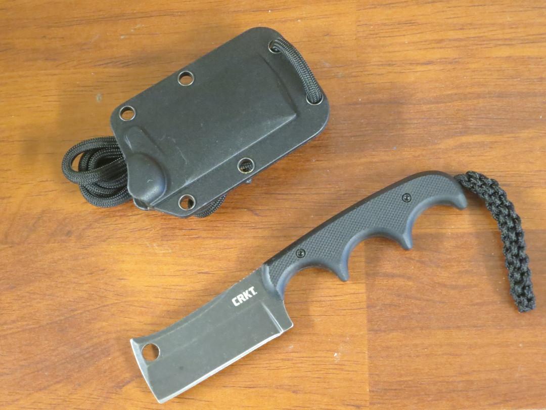 CRKT Folts Minimalist Cleaver Blackout Fixed Blade Knife, Black Stonewashed, G10 Handles image 0