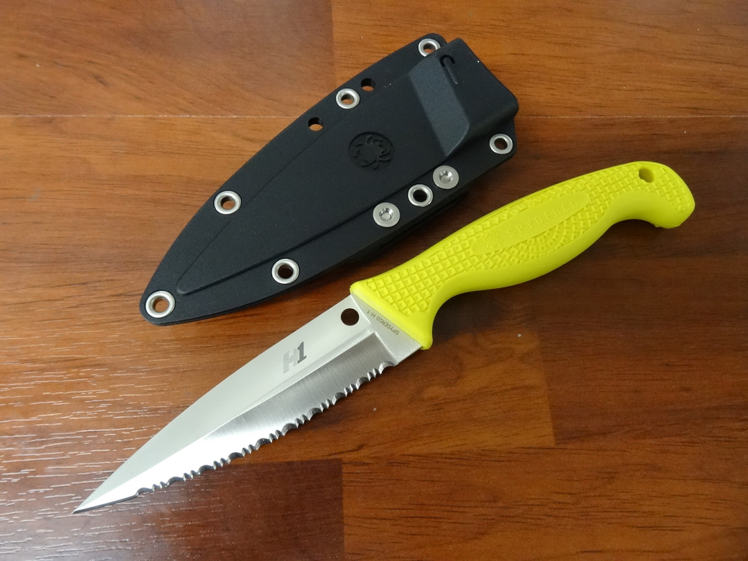 Spyderco Fish Hunter Fixed H1 Satin Serrated Blade, Yellow FRN Handles image 0