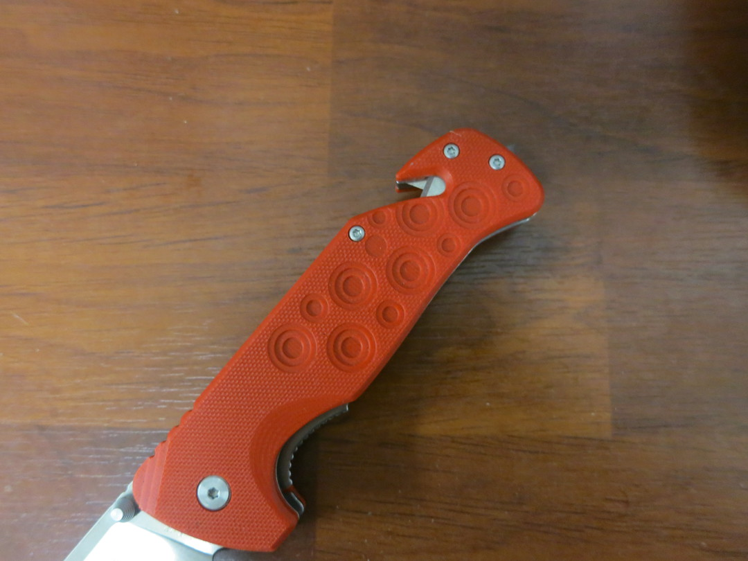 Fox Knives Black Fox Black Action Rescue Folder with Glass Breaker and sheath Red image 2