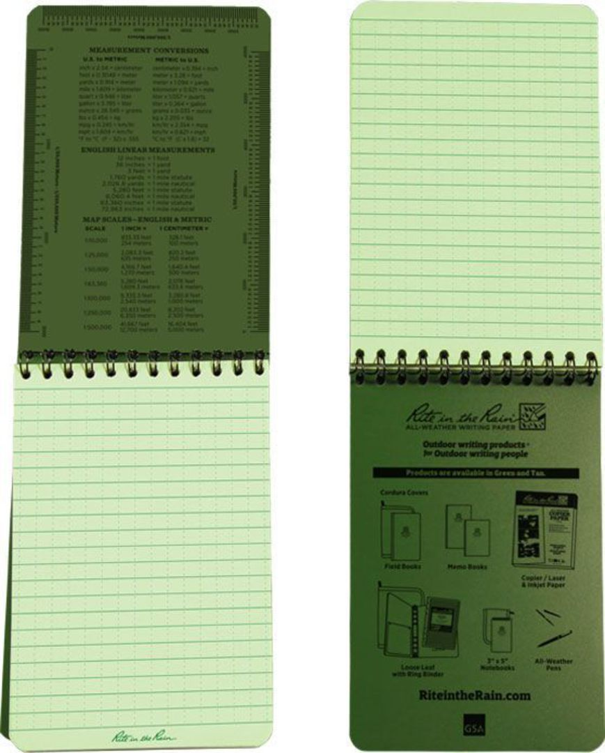 """Rite in the Rain Universal Polydura Tactical Pocket Notebook, 4"""" x 6"""", Green image 2"""