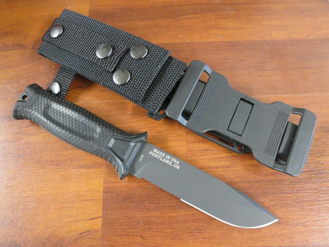 Gerber Strongarm Fixed Blade Knife- Black Half Serrated image 1