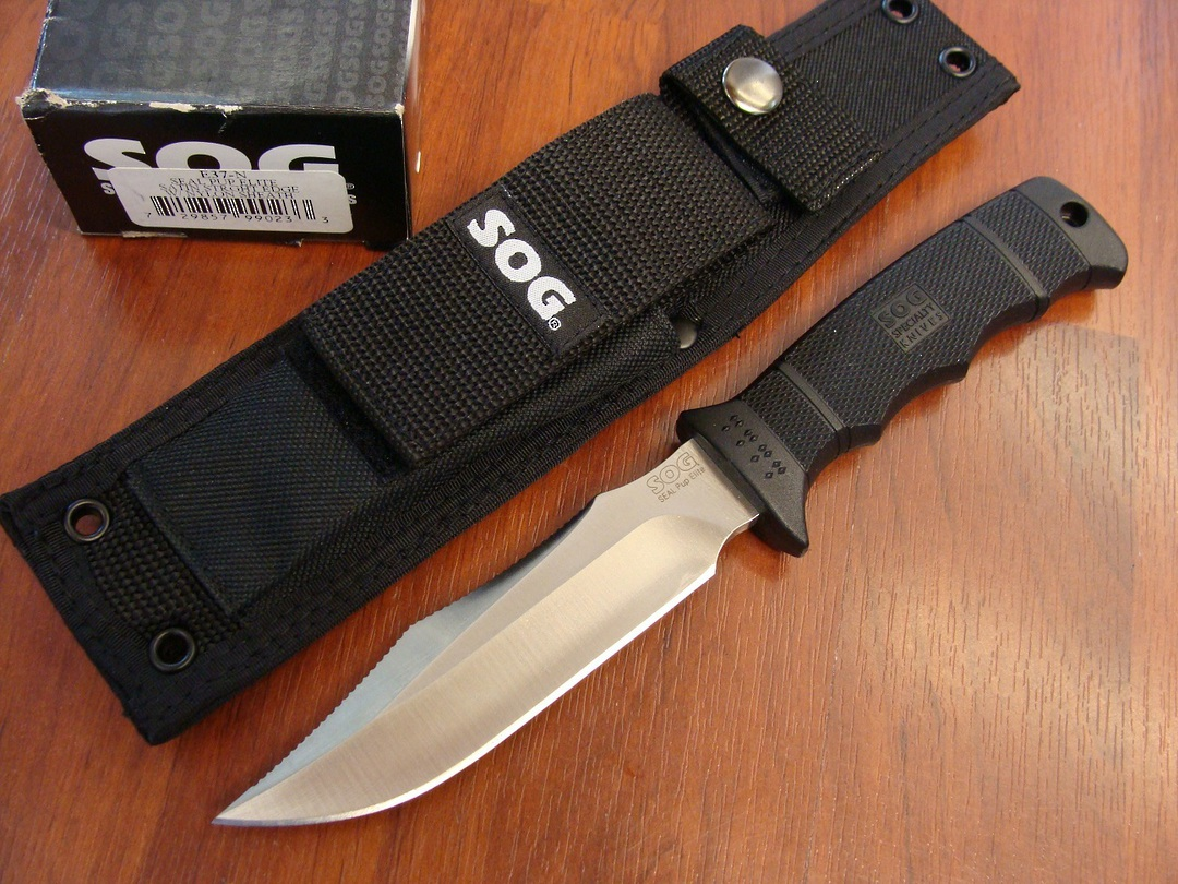 SOG Seal Pup Elite Satin Razor Knife w/ Nylon image 0