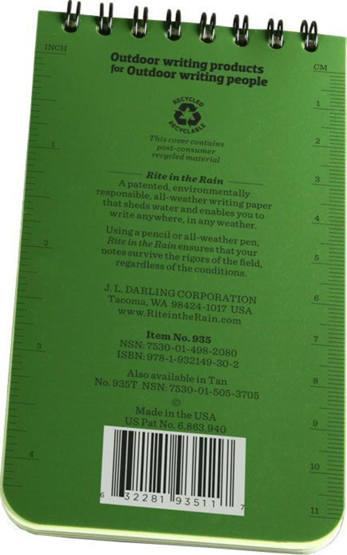 """Rite in the Rain Universal Polydura Tactical Pocket Notebook, 3"""" x 5"""", Green image 3"""