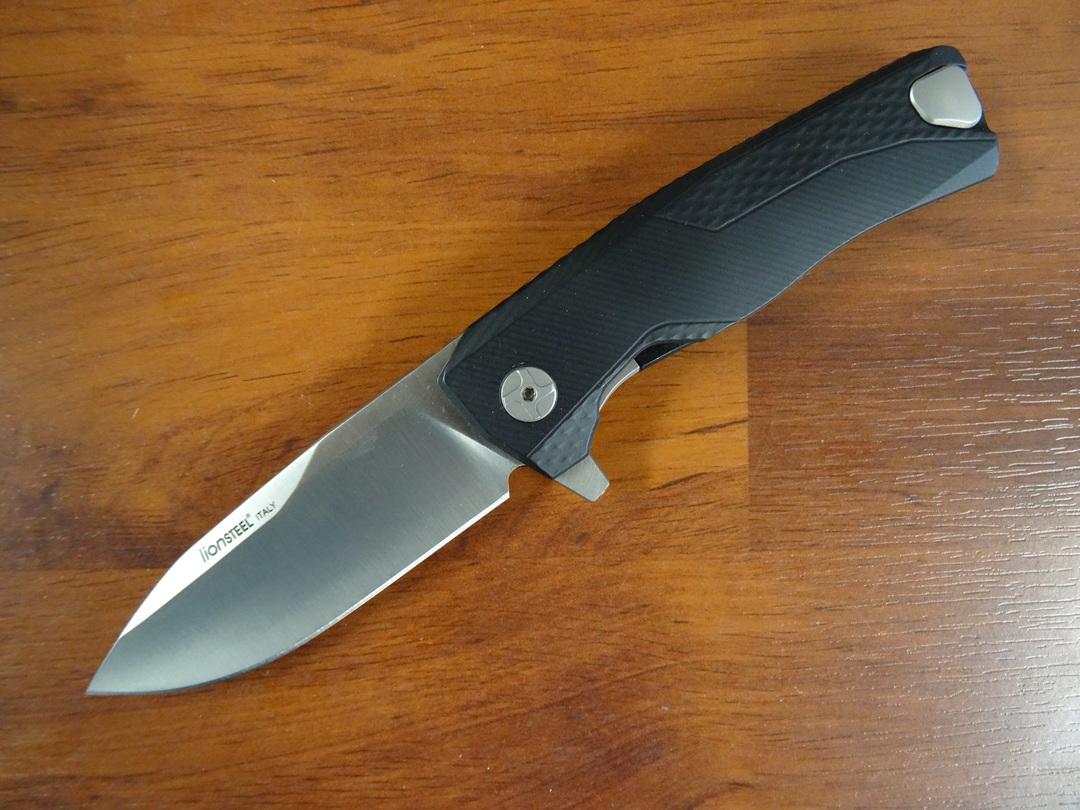 LionSteel ROK A BS Integral Flipper Knife M390, Black Aluminum Handles, H.WAYL Pocket Clip System image 0