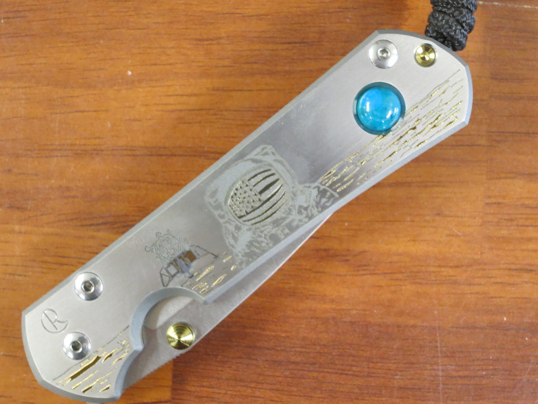 Chris Reeve Large Sebenza 31 Lunar Landing CGG, S35VN Stonewashed Blade, Titanium Handles with Chrysocolla Cabochon Inlay image 6