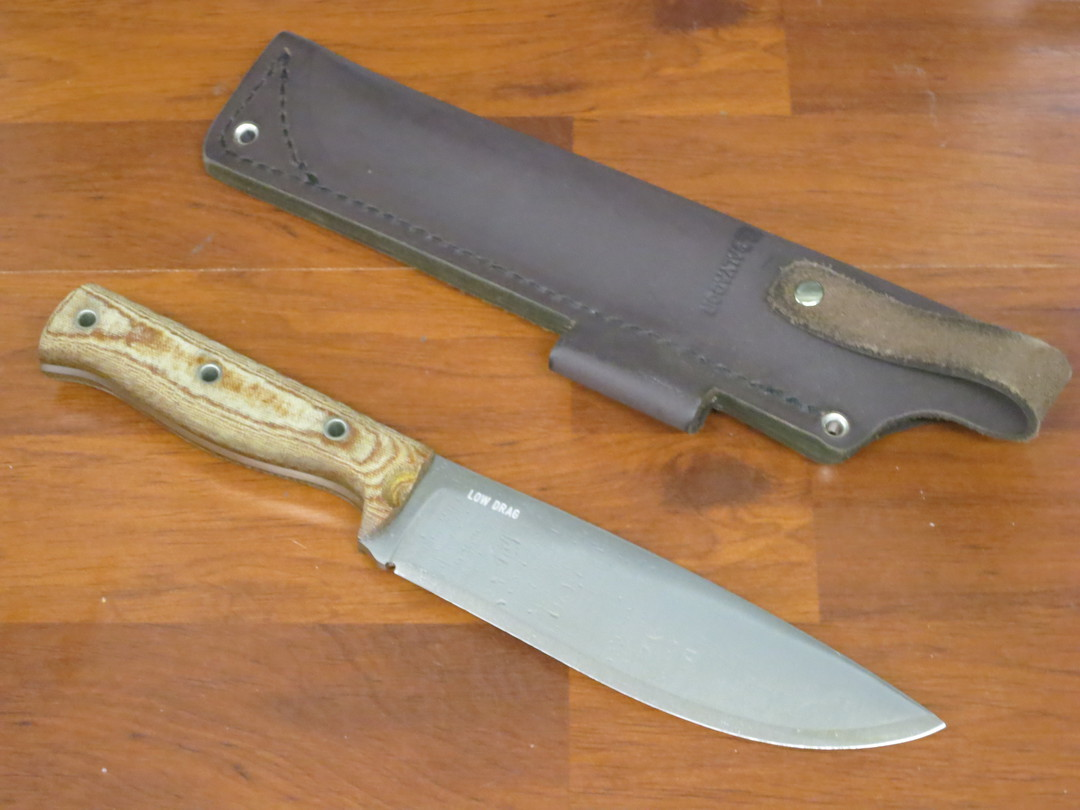 Condor Low Drag Knife 1075 Carbon Steel, Micarta Handles, Welted Leather Sheath image 1