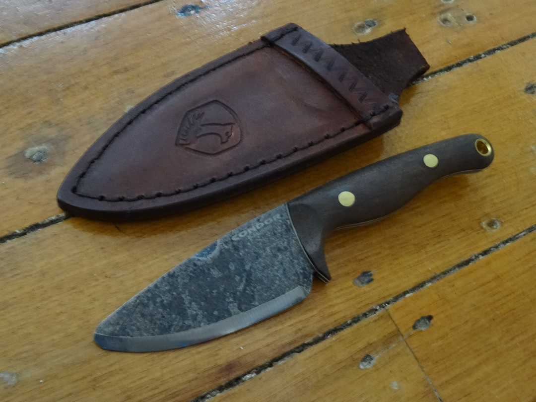 """Condor Kimen Fixed Blade Knife 3.19"""" 1095 Carbon Steel, Walnut Wood Handles, Welted Leather Sheath image 0"""