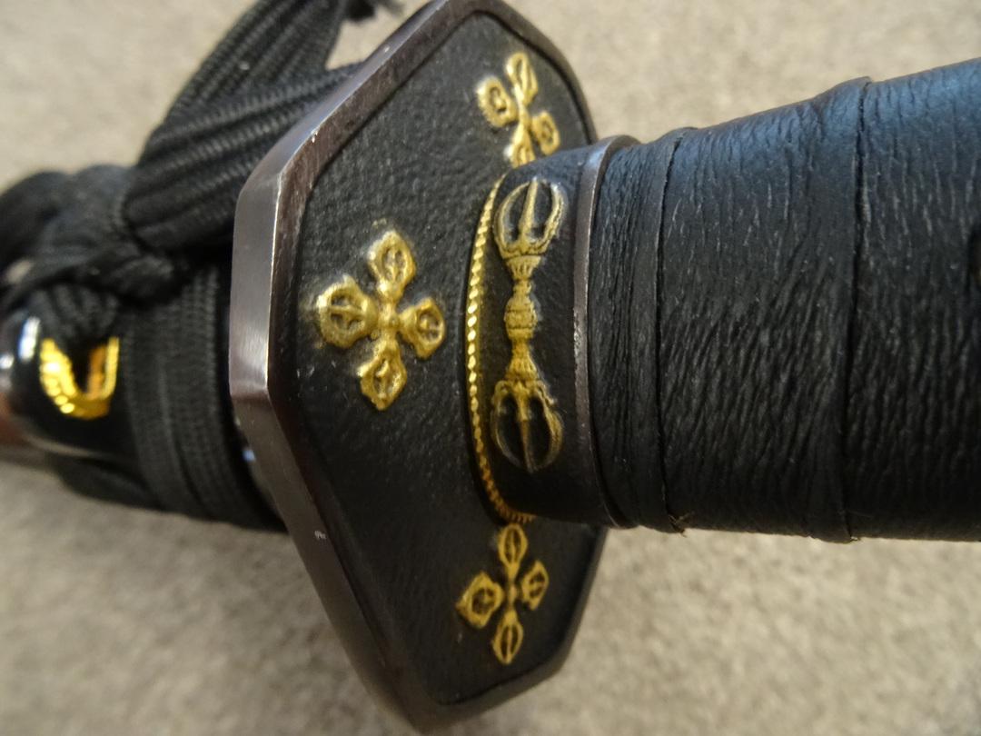 Cold Steel Steven Seagal Signature Wakizashi Damascus Blade, Lacquered Wood Scabbard image 2