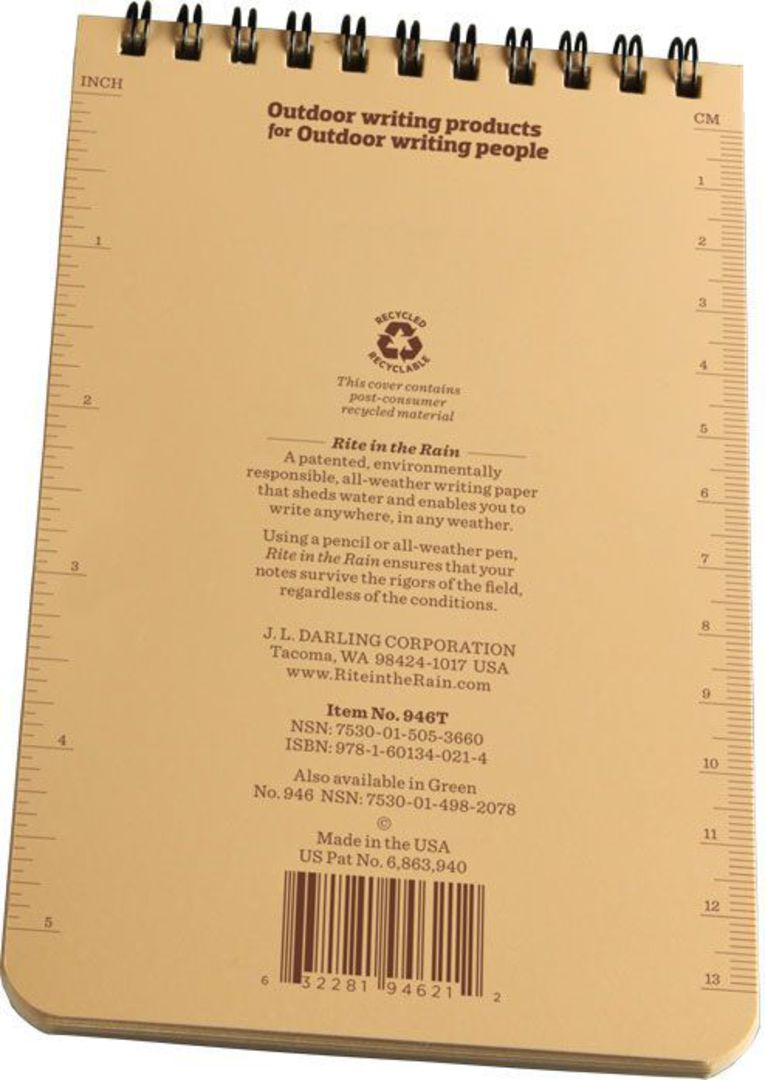 """Rite in the Rain Universal Polydura Tactical Pocket Notebook, 4"""" x 6"""", Tan image 3"""