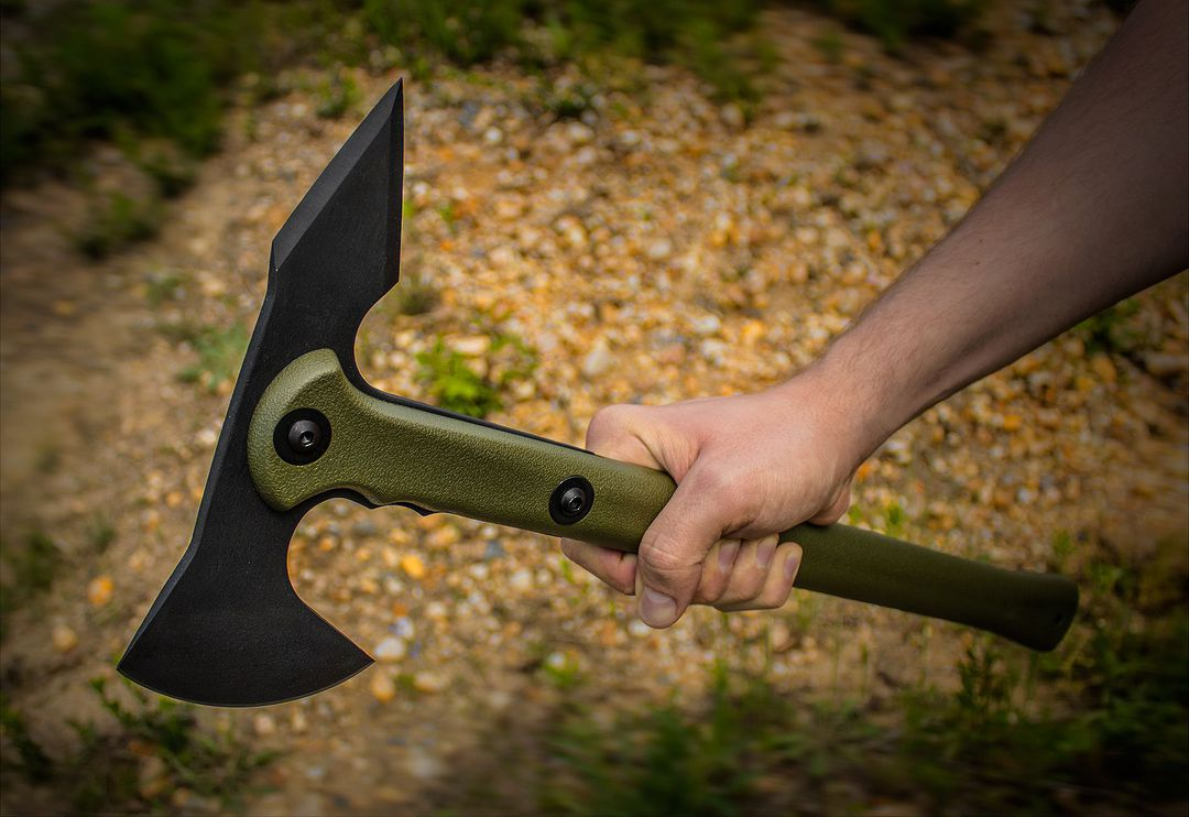Cold Steel Trench Hawk Drop Forged Combat Tomahawk OD Green, Secure-Ex Sheath image 0
