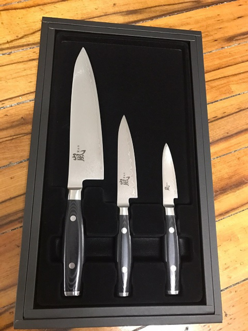 RAN Japanese DAMASCUS CHEF'S KNIFE 3PC Gift Set image 1