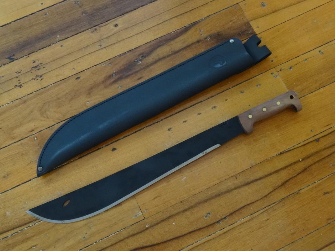 Condor El Salvador Machete, Walnut Handles, Welted Leather Sheath image 0