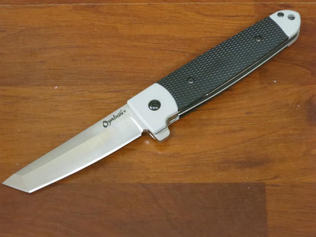 Cold Steel Oyabun Flipper Knife Tanto Blade, Gray Griv-Ex Handles - Leaf-Spring Lock image 0