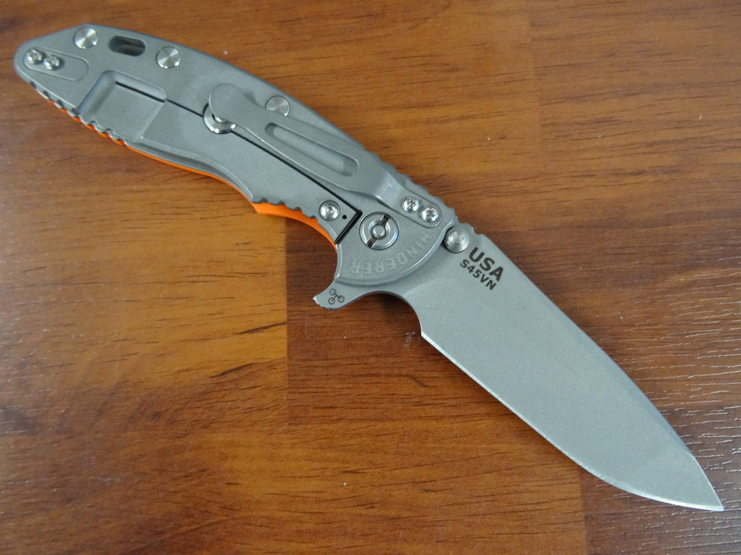 Rick Hinderer Tri-Way XM-18 3.5 Flipper, S45VN Spanto-Working Finish-Orange G10 image 2