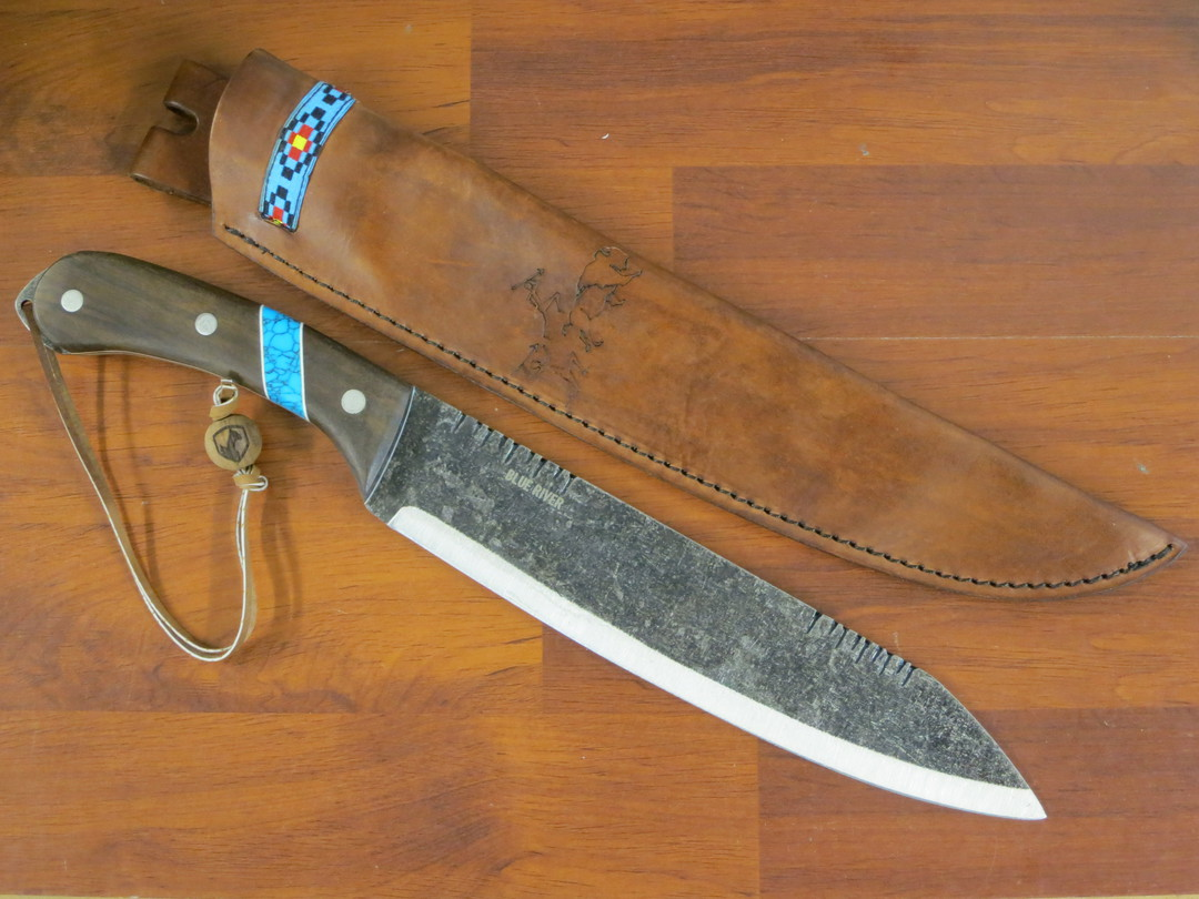 Condor Blue River Machete, Walnut Wood Handle w/ Reconstituted Turquoise Stone Inlay, Leather Sheath image 1