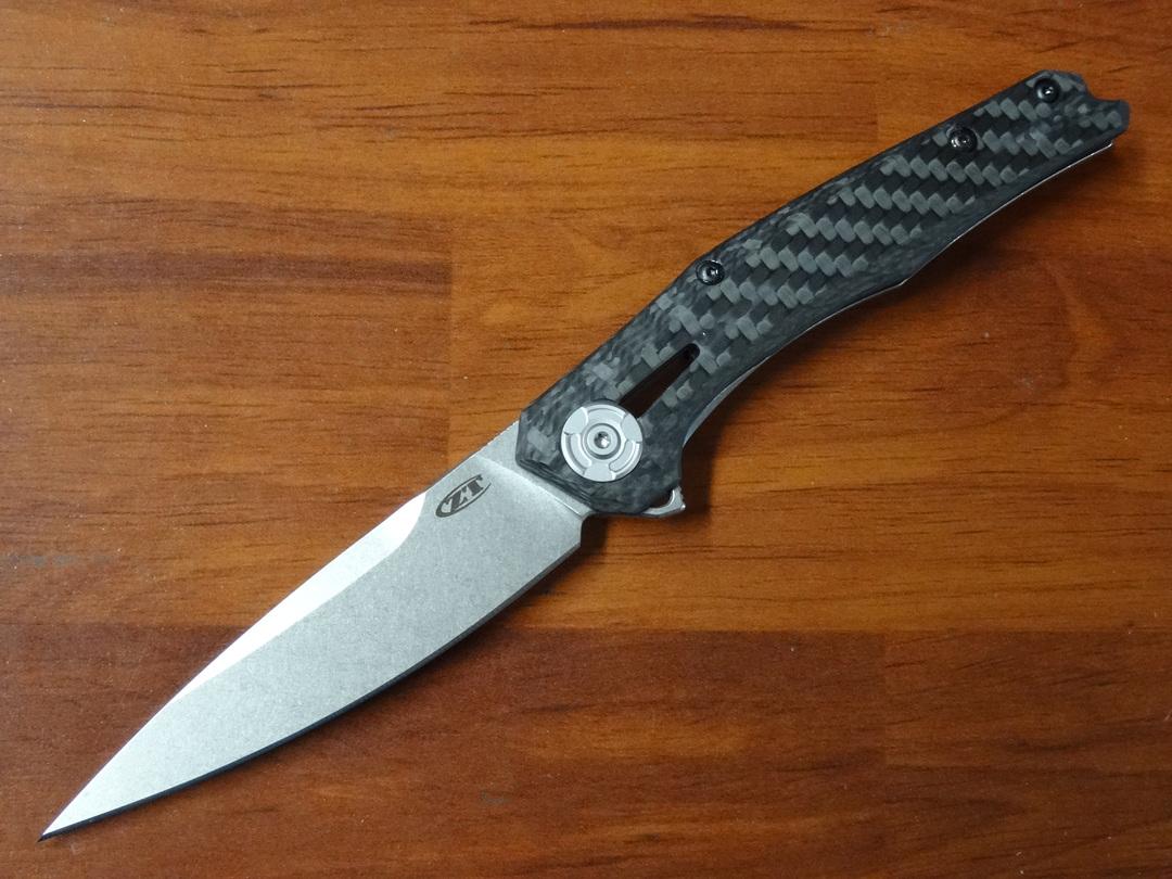 "Zero Tolerance Flipper Knife 3.5"" CPM-20CV Blade, 3D Machined Carbon Fiber /Titanium Handles image 0"