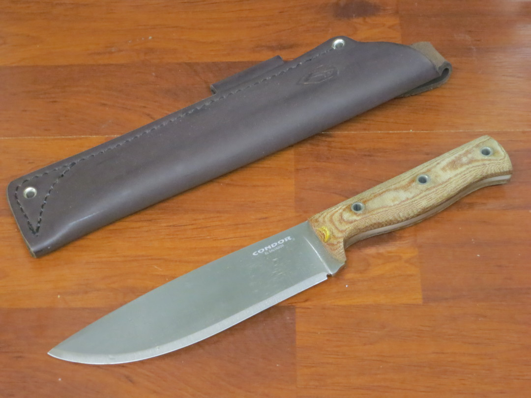 Condor Low Drag Knife 1075 Carbon Steel, Micarta Handles, Welted Leather Sheath image 0