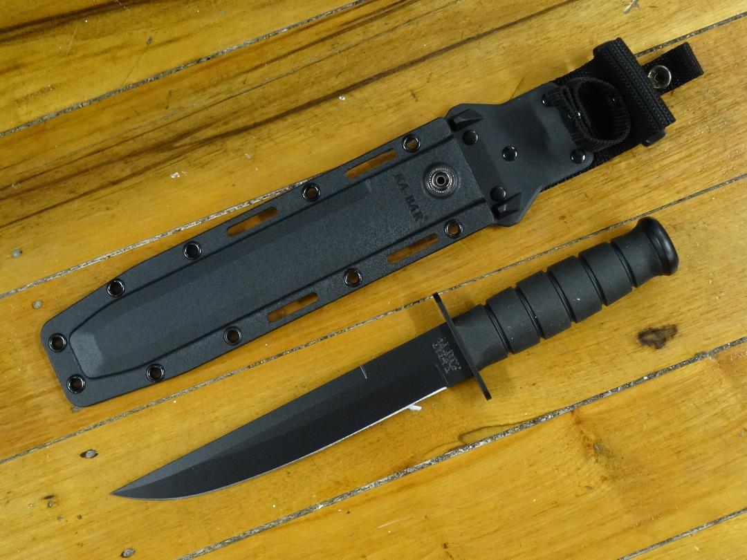"KA-BAR Modified Tanto Fixed Blade Knife 8"" Black Blade, Black Kraton G Handles, Black GFN Sheath image 0"