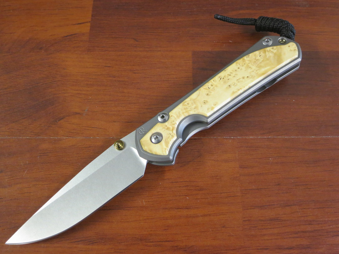 Chris Reeve Large Sebenza 31, S45VN Satin Blade, Titanium Handles with Box Elder Burl Inlays image 0