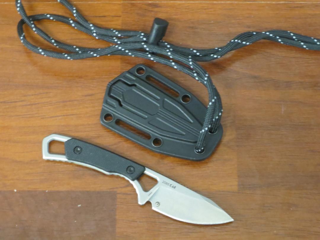 Kershaw Brace Fixed Blade Neck Knife Drop Point, Black GFN Handles, Plastic Sheath image 1