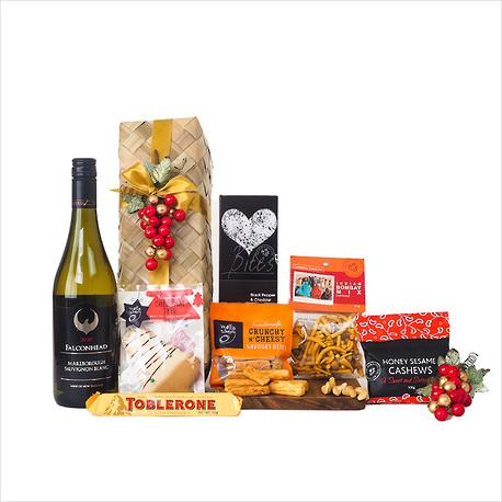Christmas Wine and Nibbles Gift Basket image 0