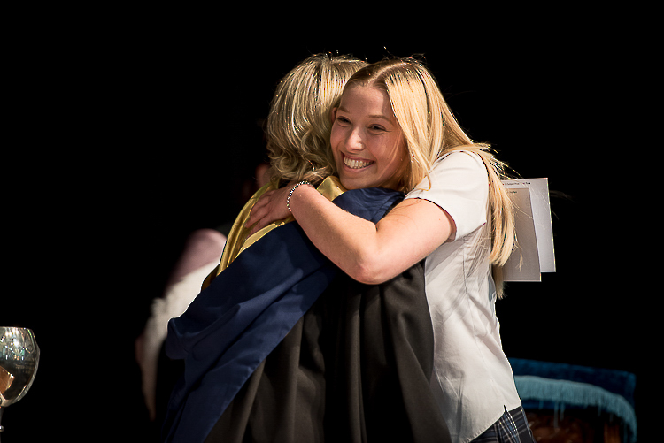 Nelson College for Girl\'s Senior Prize giving hugs
