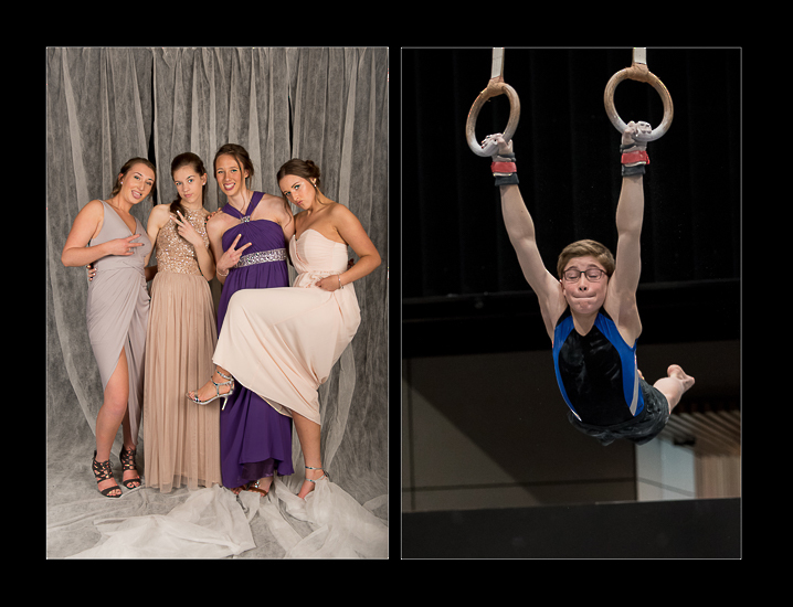 twin image of teen girls at ball and a young gymnast on rings