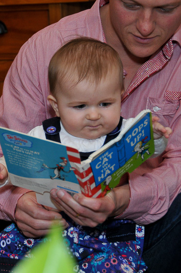 birthday by Sandra Johnson Boutique Photography dad reading book at one year old\'s birthday