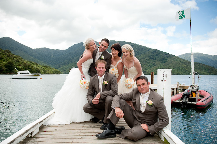 bride bridesmaids bridal party nelson nz wedding photos bridal party Marlborough Sounds