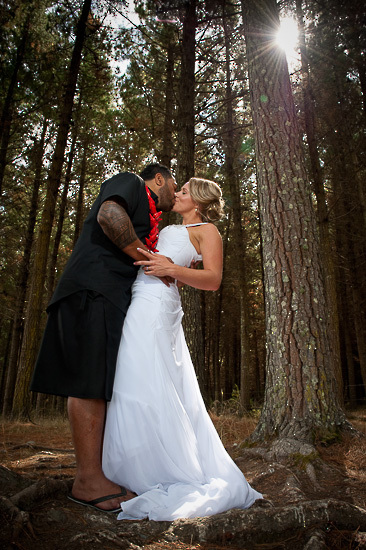 bride and groom love wedding romance glamour nelson nz rabbit island trees