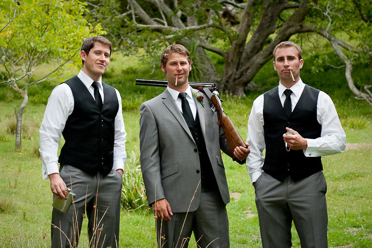 wedding photo groomsmen groom bridal party nelson nz guns