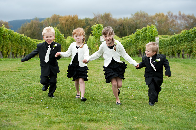 bride bridesmaids bridal party nelson nz wedding photos bridal party kids children blehneim running