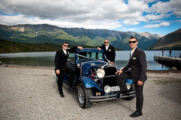 wedding photo groomsmen groom bridal party nelson nz nelson lakes lake rotoiti