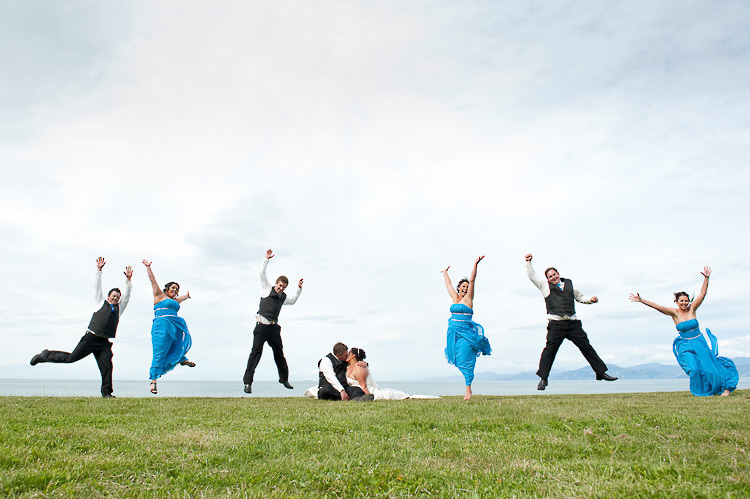 bride bridesmaids bridal party nelson nz wedding photos bridal party jump