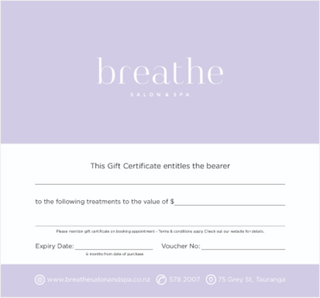 Breathe Salon & Spa Gift Voucher $200 image 0